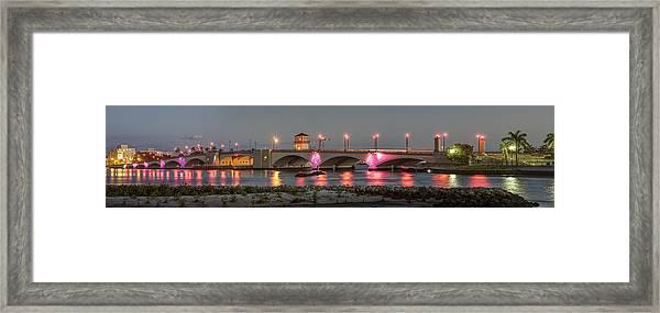 Flagler Bridge In Pink Framed Print