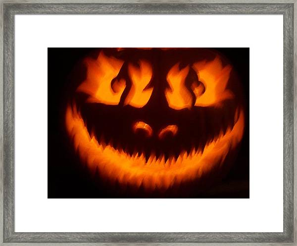 Flame Pumpkin Framed Print