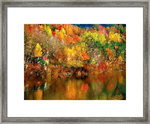 Flaming Autumn Abstract Framed Print