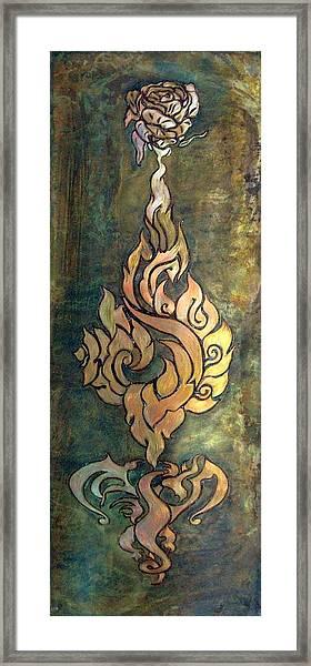 Flaming Dragon Rose Panel Framed Print