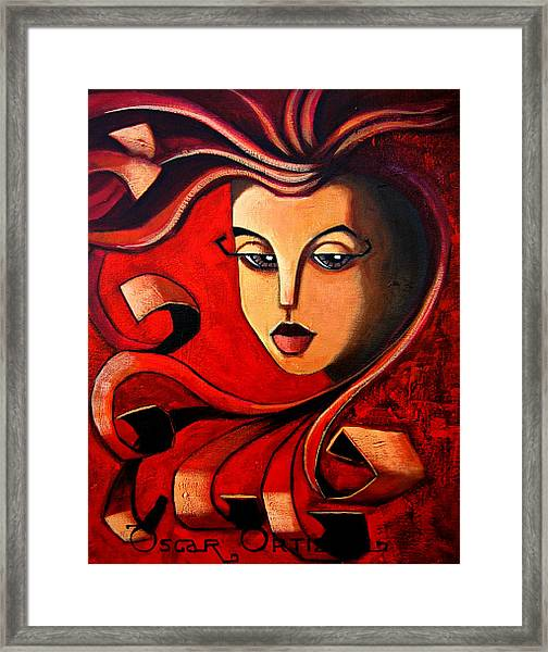 Framed Print featuring the painting Flaming Serenity by Oscar Ortiz