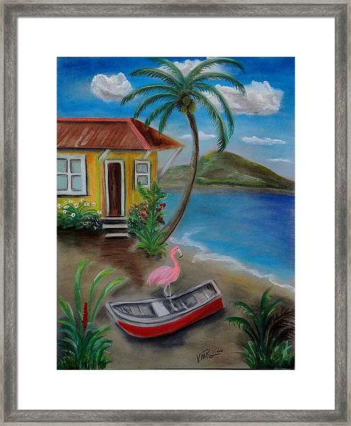 Flamingo Beach Framed Print