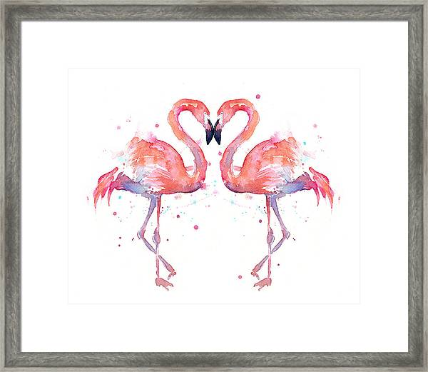 Flamingo Love Watercolor Framed Print