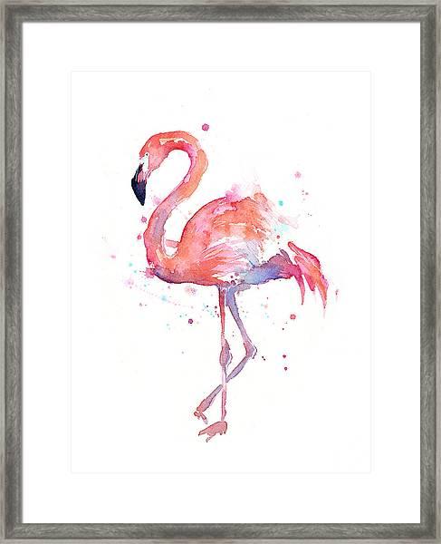 Flamingo Watercolor Framed Print