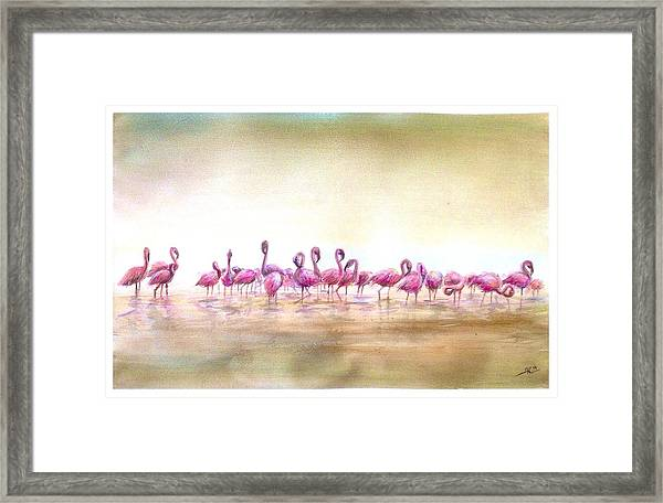 Framed Print featuring the painting Flamingoes Land by Katerina Kovatcheva