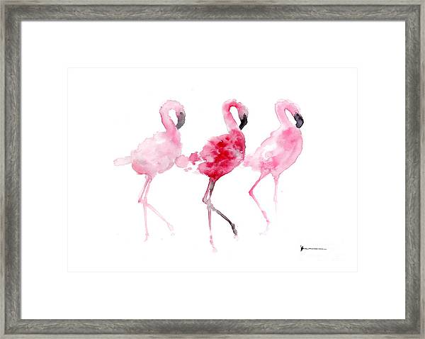 Flamingos Painting Watercolor Art Print Framed Print