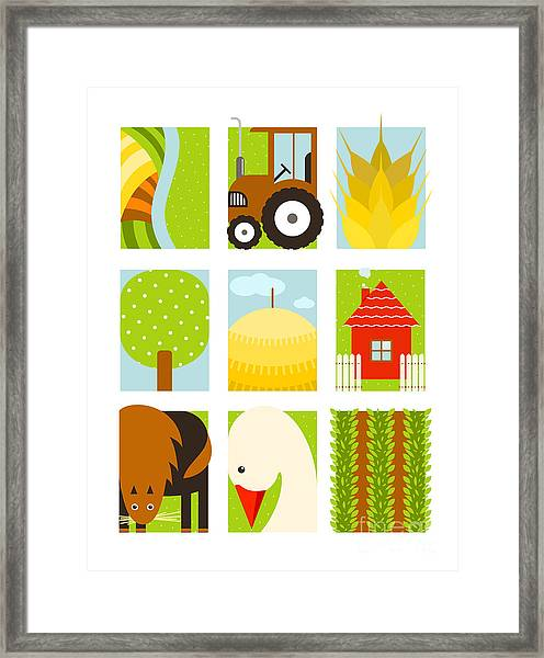 Flat Childish Rectangular Agriculture Framed Print by Popmarleo