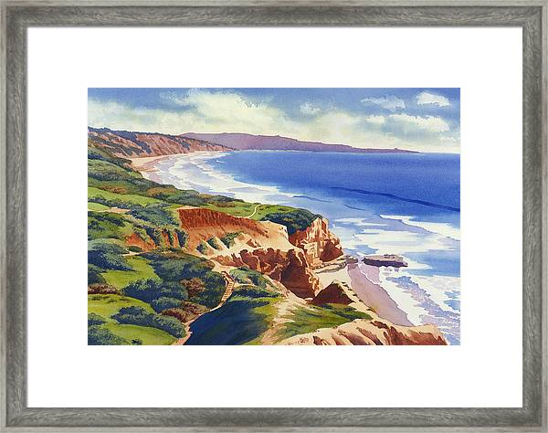 Flat Rock And Bluffs At Torrey Pines Framed Print