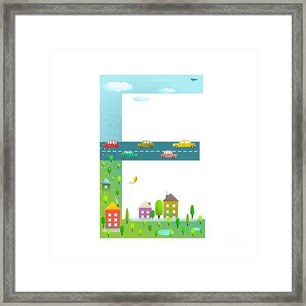 Flat Style Alphabet Letter E For Kids Framed Print by Popmarleo