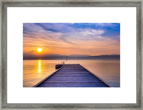 Flathead Lake Sunrise Framed Print