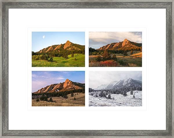 Flatirons Four Seasons With Border Framed Print