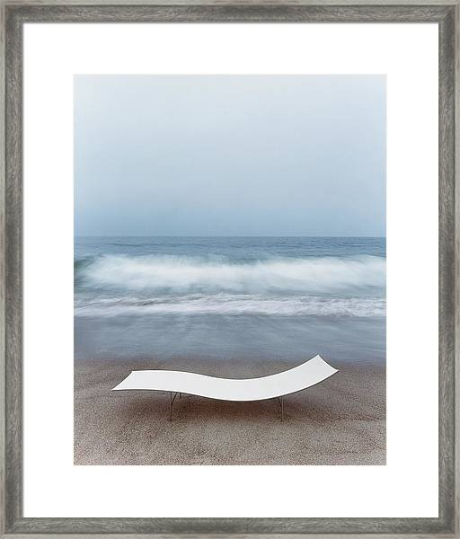 Flexy Batyline Mesh Curve Chaise On Malibu Beach Framed Print