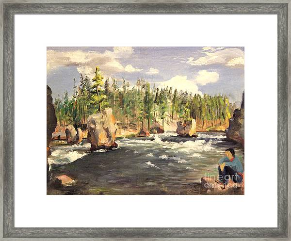Floating Boulders On The Yellowstone River  1950s Framed Print