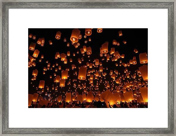 Floating Lanterns Framed Print