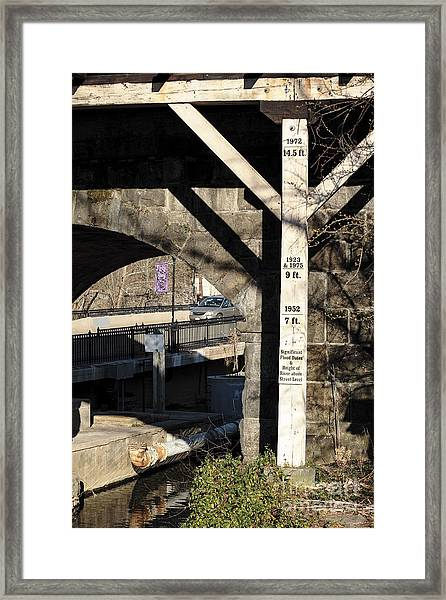 Flood Height Sign At Ellicott City Maryland Framed Print
