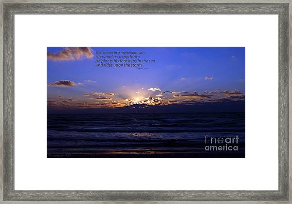 Florida Sunset Beyond The Ocean  - Quote Framed Print