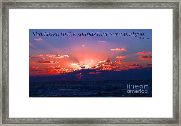Florida Sunset Beyond The Ocean - Shh Framed Print