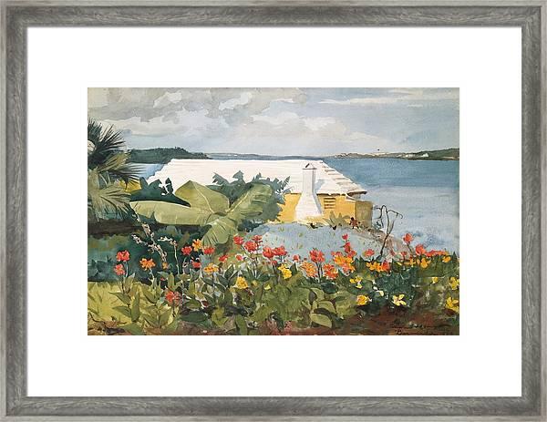 Flower Garden And Bungalow Framed Print