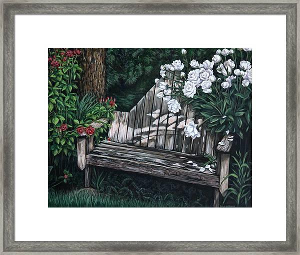 Flower Garden Seat Framed Print