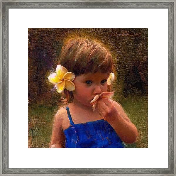 Flower Girl - Tropical Portrait With Plumeria Flowers Framed Print