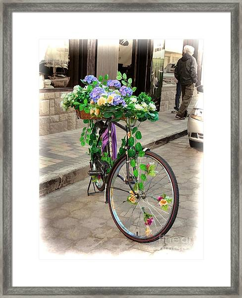 Flower Power Meets Pedal Power  Framed Print