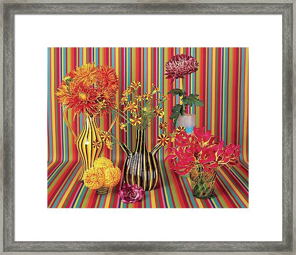 Flower Vases Against Striped Fabric Framed Print