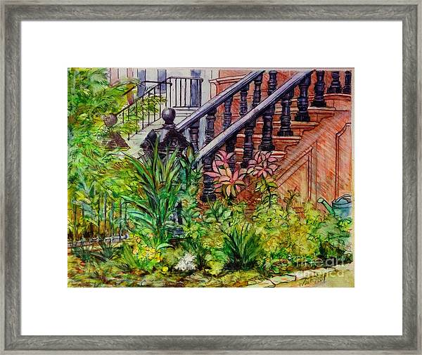 Flowers And Balustrade Eighth Street Framed Print