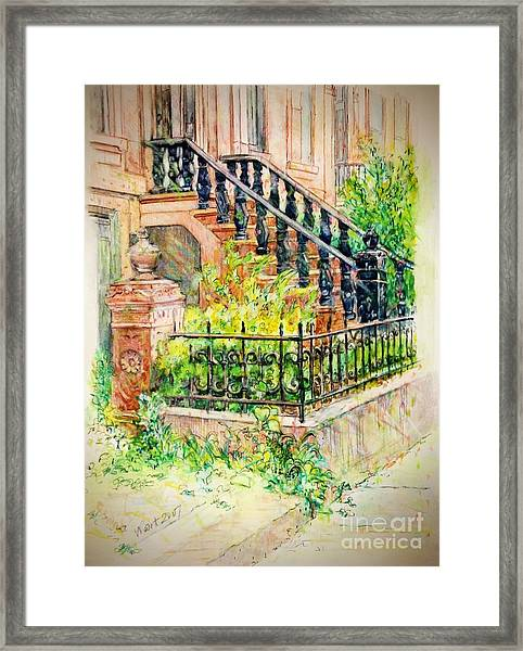 Flowers And Balustrade Ninth Street Framed Print