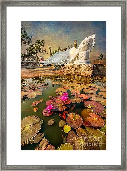 Flowers And Buddha Framed Print