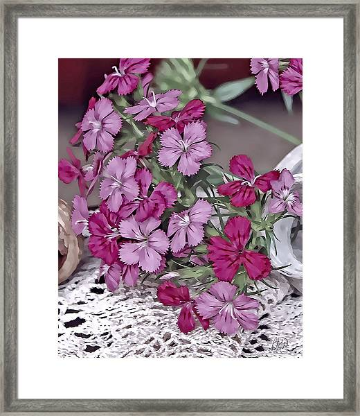 Flowers And Lace Framed Print