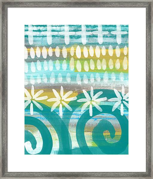 Flowers And Waves- Abstract Pattern Painting Framed Print