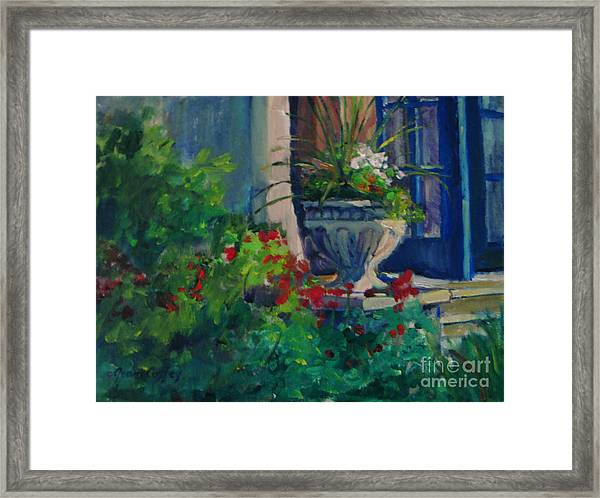Flowers At The Museum's Entrance Framed Print