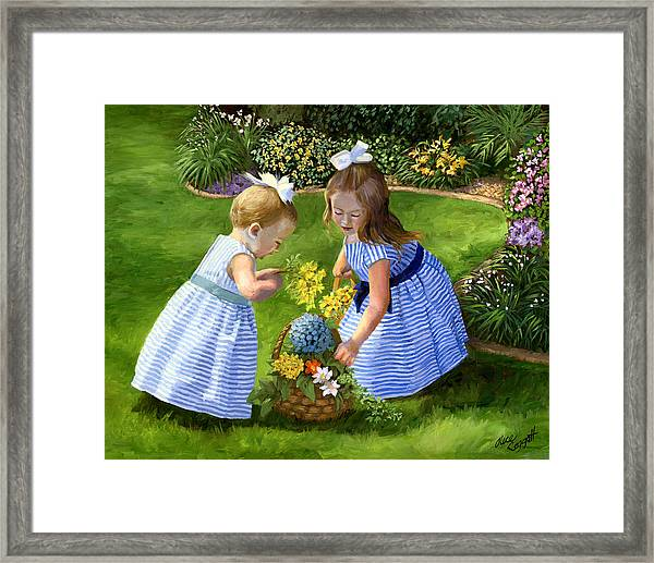 Flowers For Mama With Girls Garden Basket Bouquet Framed Print by Alice Leggett