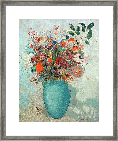 Flowers In A Turquoise Vase Framed Print