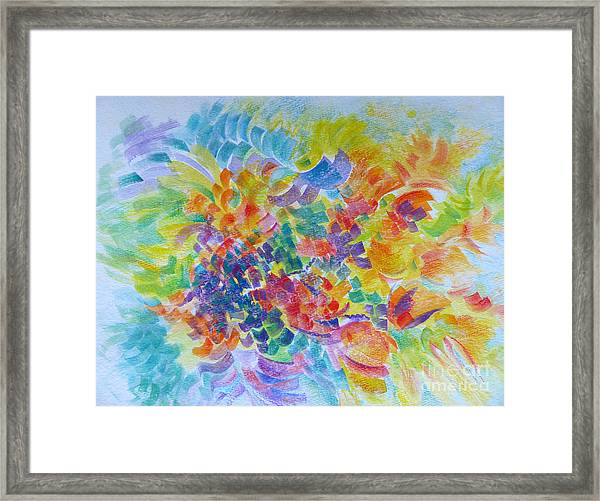 Flowers In Lavender Vase Framed Print