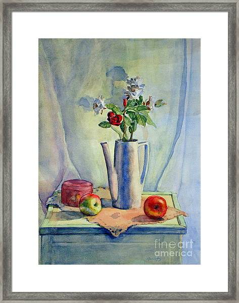 Flowers In Pitcher With Apples Framed Print