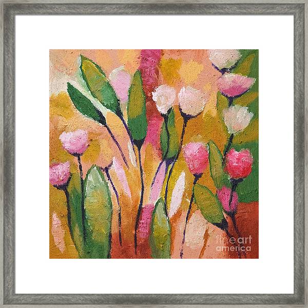 Flowers With Yellow Framed Print