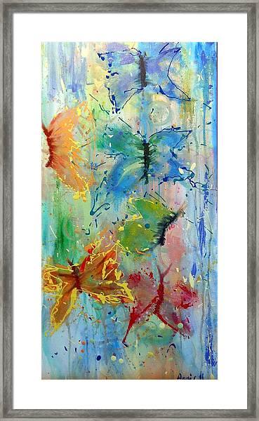 Flutter In The Rain Framed Print