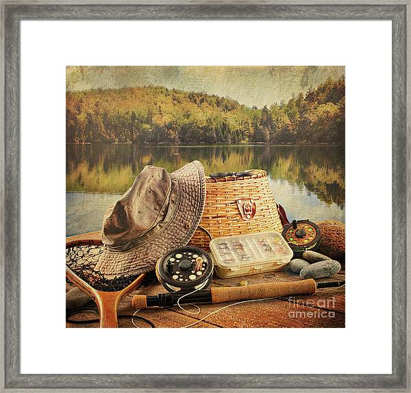 Fly Fishing Equipment  With Vintage Look Framed Print