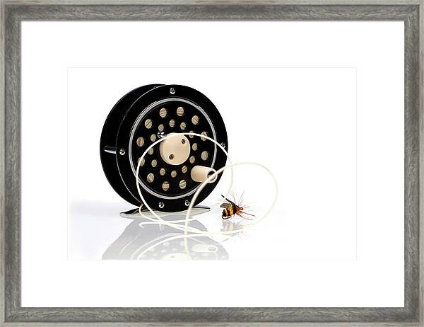 Fly Fishing Reel With Fly Framed Print