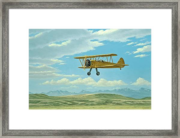 Fly-in At Three Forks - Stearman   Framed Print