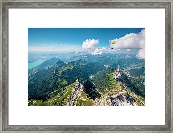 Flying Above La Tournette With Francis Boehm bimbo Framed Print by Tristan Shu