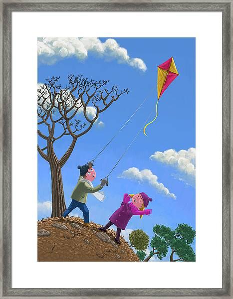 Flying Kite On Windy Day Framed Print