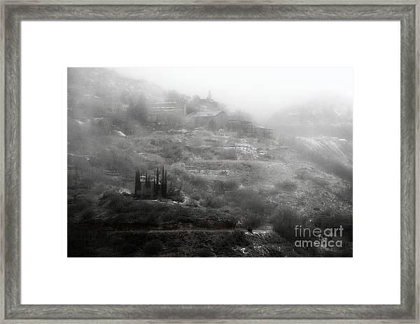 Fog And Snow With Powderbox Church In Jerome Az Framed Print