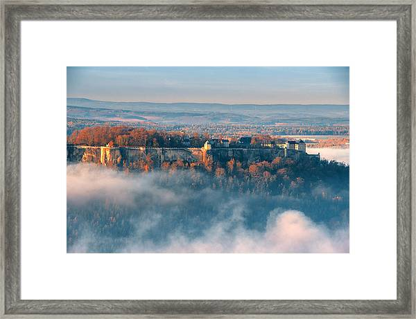 Fog Around The Fortress Koenigstein Framed Print