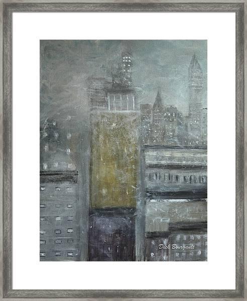 Fog Covered City Framed Print