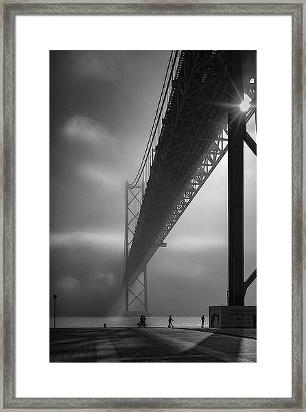 Fog On The Tejo River Framed Print by Fernando Jorge Gon?alves