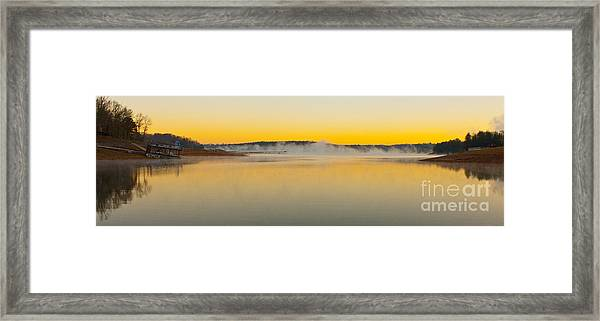 Fog Over The Lake Framed Print