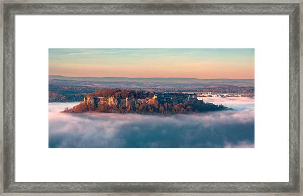 Fog Surrounding The Fortress Koenigstein Framed Print