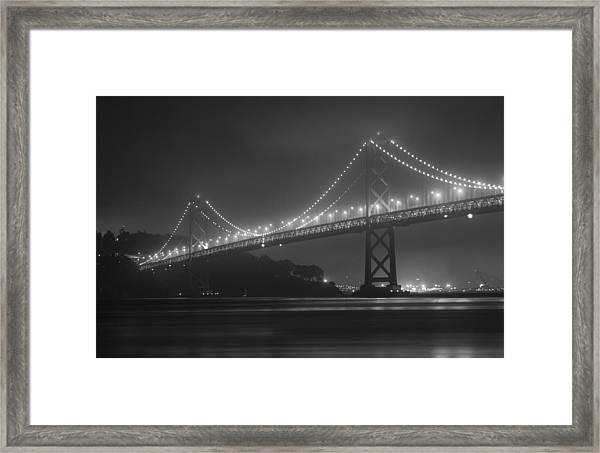 Foggy Bay Bridge Framed Print